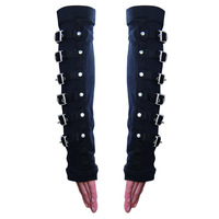 Devil Fashion Punk Winter Arm Warmers Fingerless Gloves Black Gothic Unisex Arm Gloves Arm Protection With Metal Button