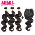 Высший сорт перуанский девы волос с закрытием 3 связки с закрытием перуанский волна с кружевными закрытия Rosa для волос