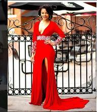 2017 Sexy Abendkleid für Schwarze Frauen Abendkleid A-linie Red tiefem V-ausschnitt Split Neue Ankunft Preiswerte Lange Abschlussball-kleider Party Kleid