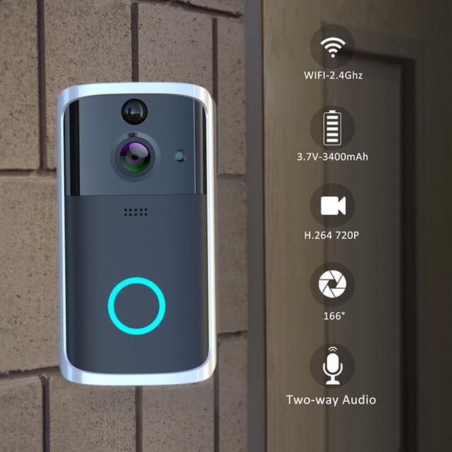 Inteligentny WiFi dzwonek z kamerą wideo wizualny domofon z dzwonek Night Vision IP dzwonek do drzwi bezprzewodowy aparatu bezpieczeństwa w domu