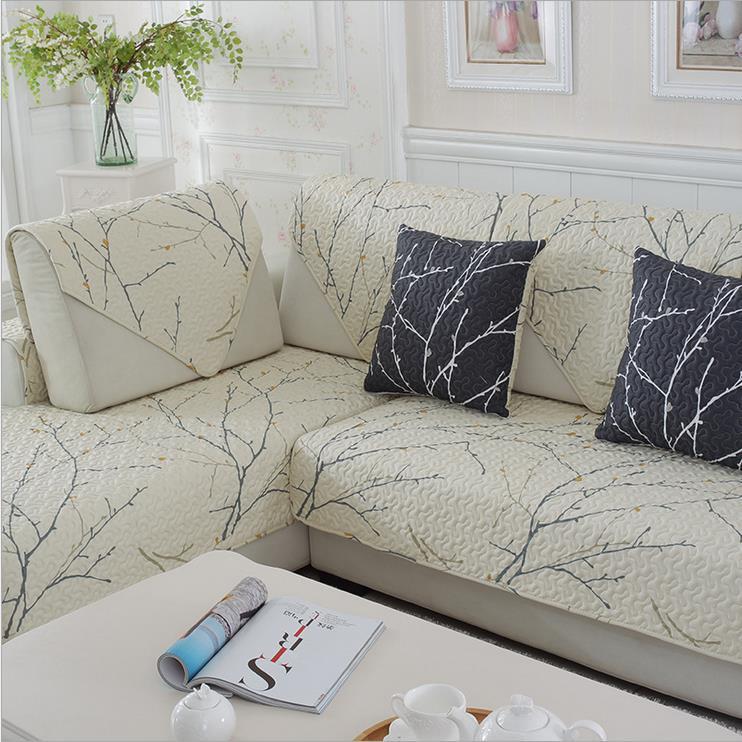 1 Piece Cotton Sofa Cover White Plant Printed Soft Modern Slip Resistant Sofa Slipcover Seat