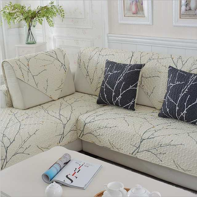 1 piece cotton Sofa Cover White Plant printed Soft Modern Slip Resistant  Sofa Slipcover Seat Couch Cover for living Room
