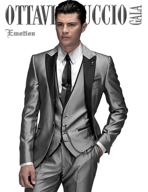 503c90baba73 mens suits with pants 2015 grey Arabic Wedding suit Groom Tuxedos costume  slim homme best men Suit Jacket+Pants+Tie+Vest