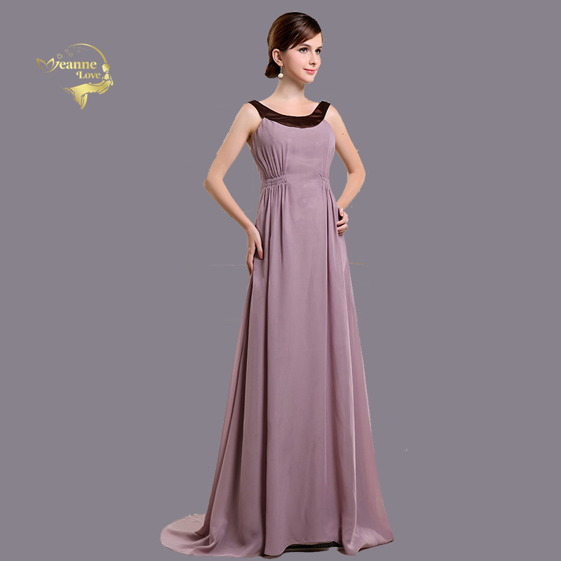 Purple Long   Bridesmaid     Dresses   Chiffon Cheap Simple Scoop Neck A Line Real Photos Formal   Dresses   for Wedding Party For Woman