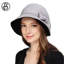 e09c848c7b2b0 FS 2017 mujeres de alta calidad de lana Fieltro sombrero ala plana tapa  elegante del arco del sombrero del cubo Cloche Cap Sombr.