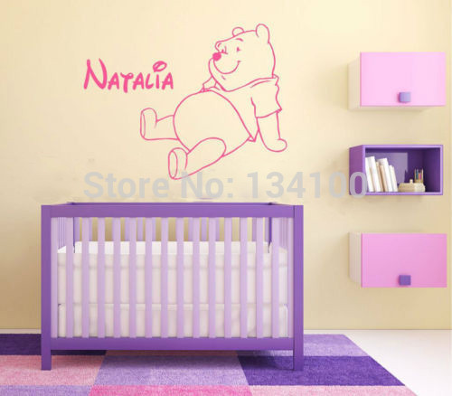 The Pooh Bear Personalised Vinyl Kids Wall Art Sticker Decal Home Decor For Children Nursery Room You Choose Name And Color In Stickers From