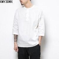 Estilo chino botón algodón Lino camiseta para hombres verano manga corta Camiseta de los hombres de moda Camisetas Tees más tamaño m-5xl loose Top Camisetas Tees