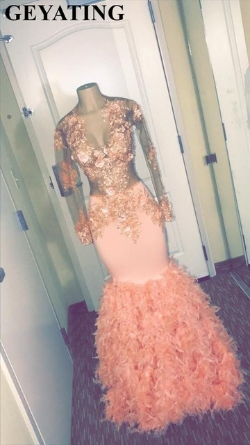 Coral Sheer Long Sleeves Mermaid Prom Dresses with Feather Train 3D Flowers Appliques Black Girls Graduation Party Dress Long