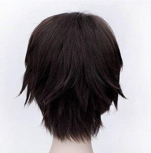 Image 4 - High Quality Attack on Titan Eren Jaeger Wig Dark Brown Short Mens Heat Resistant Synthetic Cosplay Wig + Wig Cap