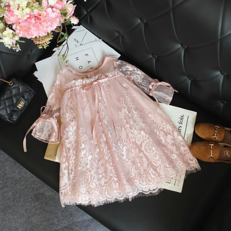 wedding girls ball gowns hallowing lace flower dress Princess Summer middle sleeve rustic floral dress clothing