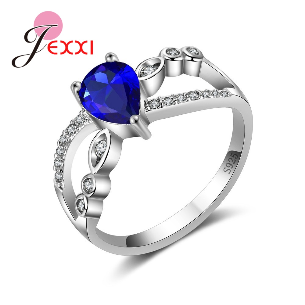 YAAMELI Women Royal Blue Water Drop Crystal Rings Fashion 925 Sterling Silver Engagement Wedding Ring For Female Bands Jewelry