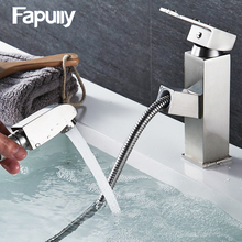 Fapully Pull out Stainless steel basin faucet mixer single handle bathroom sink