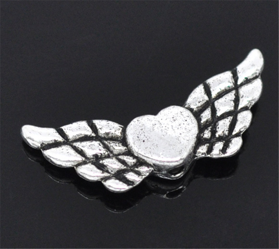 b13230 Yiwu Sophisticated Technologies Doreenbeads 50 Silver Tone Heart& Wing Spacer Beads 22x9mm