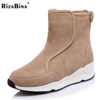 RizaBina Cold Winter Snow Boots Women Real Leather Thick Platform Half Short Winter Boots For Women