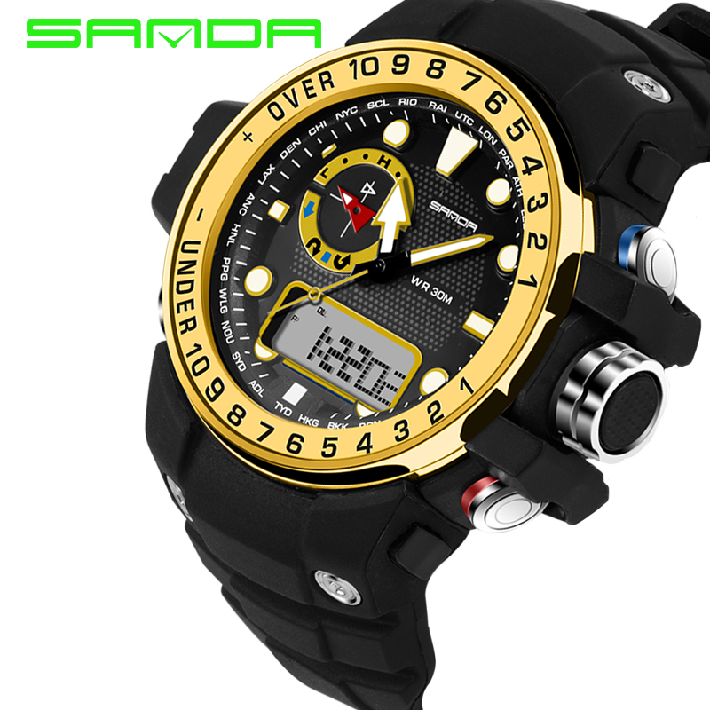 2017 SANDA Fashion Multifunction Colorful outdoor military watch compass 5ATM Running swimming climbing wristwatches Hot Clock