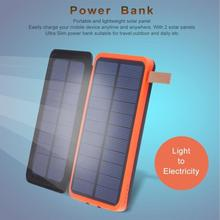 solar powerbank Waterproof power bank 30000mah portable battery Doubled Fold Power Source With Light For xiaomi smartphone