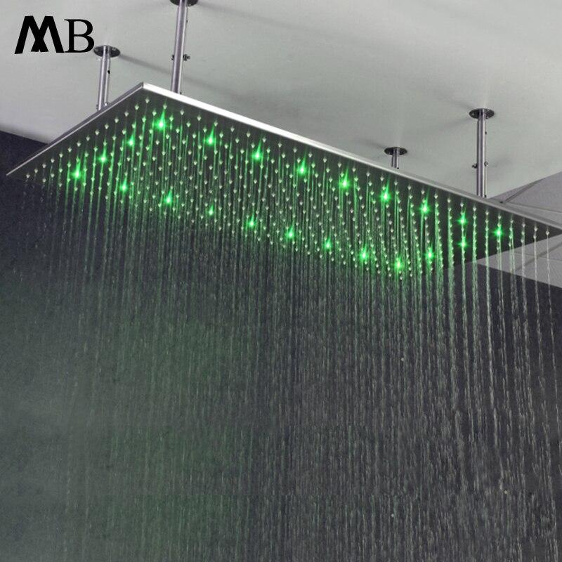Gran ducha de lluvia Water Power LED lluvia duchas de baño iluminación LED cabezas de ducha Led temperatura con brazos de ducha cepillado