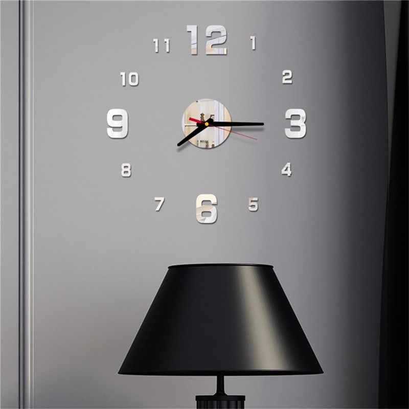 Mới Đồng hồ Đồng hồ hiện đại thiết kế lớn trang trí đồng hồ Châu Âu Acrylic dán phòng khách Acrylic Đồng Hồ Treo Tường &