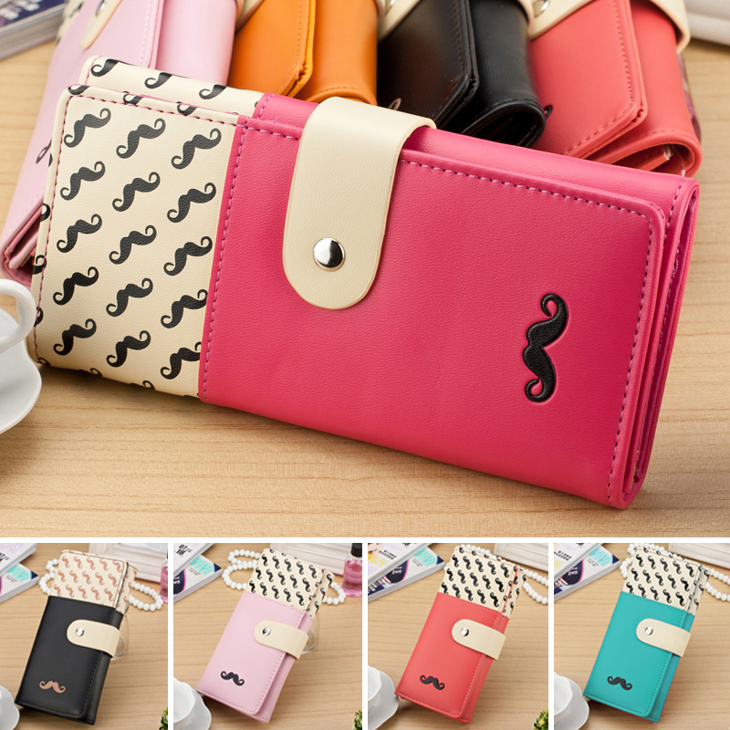 Women Wallets Soft PU Leather Hasp Lady Handbags Lovely Mustache Woman Moneybags Coin Purse Card Holder Clutch Female Wallet Bag