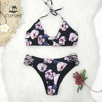 CUPSHE imprimé fleur réversible Bikini ensembles femmes Sexy à bretelles licou deux pièces maillots de bain 2019 fille maillots de bain