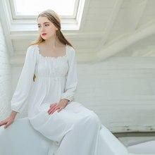 d3ebf6ff3 O Envio gratuito de 2017 Outono Nova Princesa Camisola das Mulheres Branco  Longo Pijamas 100% Algodão Material Camisola Senhoras.