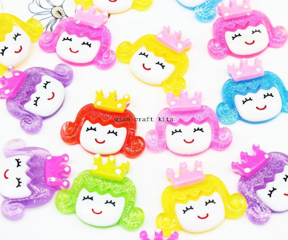 120pcs big glitter princess girl in crown Resin large Hair Bow Resins flatback decoden Button cabochons cabs