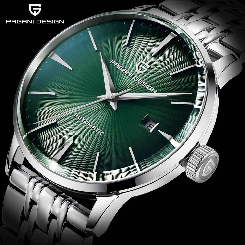 PAGANI DESIGN Mechanical Watch Men Wrist Automatic Retro Watches Men Waterproof Black Full-Steel Business Watch Montre Homme