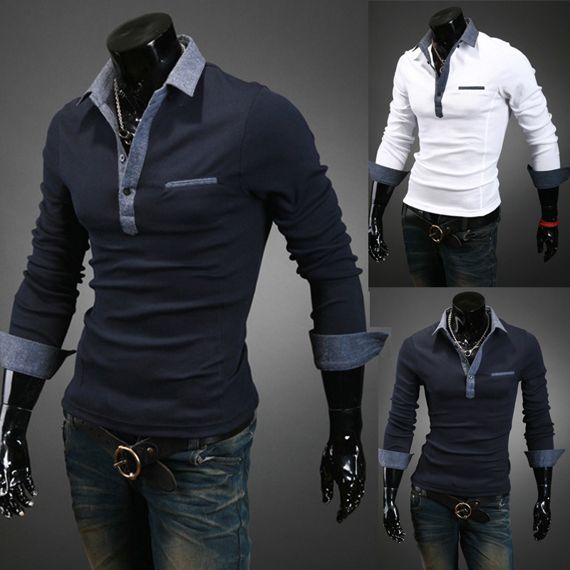 2015 New Fashion Men S Slim Fit Long Sleeve Polo Shirt Brand Spring