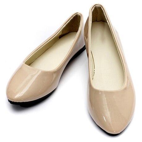 НОВЫХ женщин Дамы Плоским Балерина Балет Повседневная Мокасины Скольжения на Обувь, Beige 40