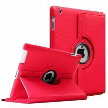 Купить с кэшбэком For iPad 2 3 4 Case 360 Degrees Rotating PU Leather Cover for Apple iPad 2 3 4 Stand Holder Cases Smart Tablet A1395 A1396 A1430