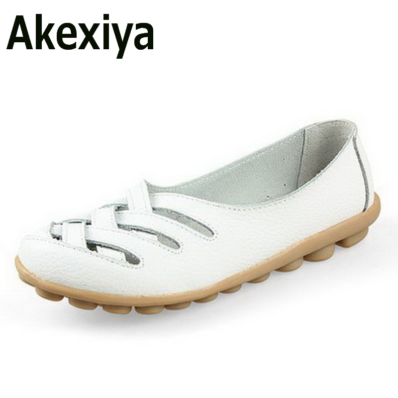 Akexiya Fashion Women Genuine Leather Mother Shoes Moccasins Women's Soft Leisure Flats Female Driving Shoe Flat 7 colors new women s flats shoes 2015 brand genuine leather flat shoes woman moccasins female causal driving shoes for women bsn 158