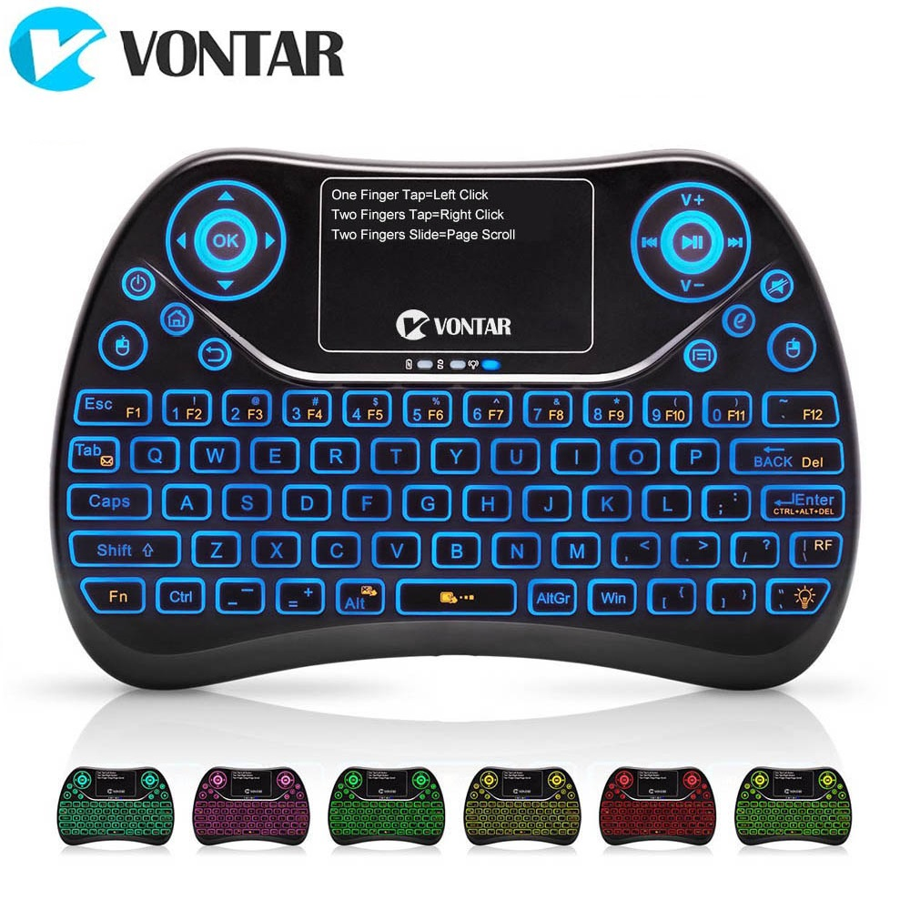 VONTAR TX2 Plus Air Mouse QWTREY Keyboard 2.4GHz Wireless mini Keyboard Touchpad Fly mouse Backlit for Android TV BOX X96 mini цена и фото