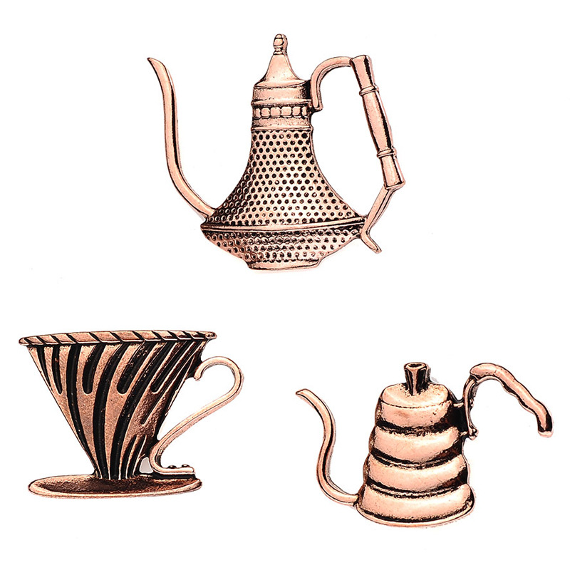 Gift Copper Turkish Coffee Pot And Cup Coffee Pin Espresso Women Men Enamel Pins Badges Brooches Denim Jackets Cloth Accessories