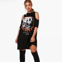 Plus Size Black Tropical Print Shirt Dress For Women Short Sleeve Cold Shoulder Tunic Dress Ladies