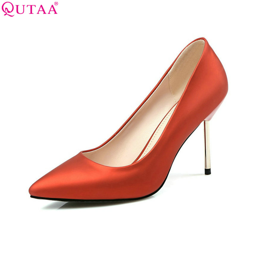 QUTAA 2017 Fashion Gold Women Pumps Thin High Heel Pointed Toe Platform PU leather Ladies Wedding Shoes Size 34-43 plus size 34 43 new hot sale thin heel women pumps pointed toe sequin simple fashion high heels ladies dress shoes gold