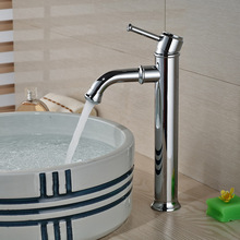 Luxury Chrome Brass Bathroom Mixer Faucet Single Handle Basin Sink Washing Taps Deck Mounted