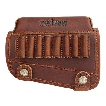 Tourbon Hunting Rifle Gun Cheek Rest Riser Pad Buttstock Left Hand Genuine Leather W/Ammo Cartridges Holder Shooting Accessories 4