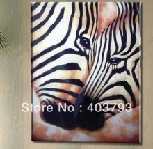 100% Hand painted  Wall art home Decor Oil Painting on canvas abstract Zebra lover Free shipping