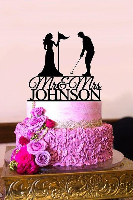 Golf wedding cake topper Custom Wedding Cake Topper mr mrs golf ...
