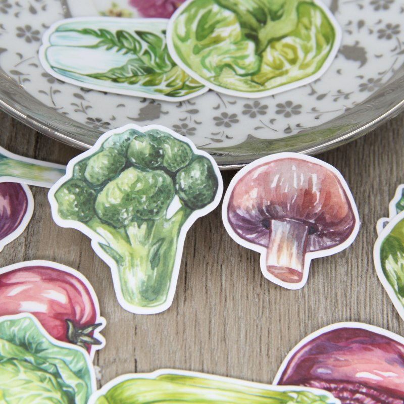 34pcs Watercolor Drawing Vegetable Scrapbooking Stickers, Fruit Diary, Book DIY Decorative Sticker Pack