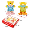 2 Pcs/set Baby Learning Educational Wooden Toys  Board Bear Dress Changing Puzzle Jigsaw Matching Enlightenment Gifts
