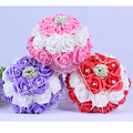 2017  In stock Purple/Pink/Red Wedding Flowers White Bridesmaid Bridal Bouquets Artificial Rose Wedding Bouquet