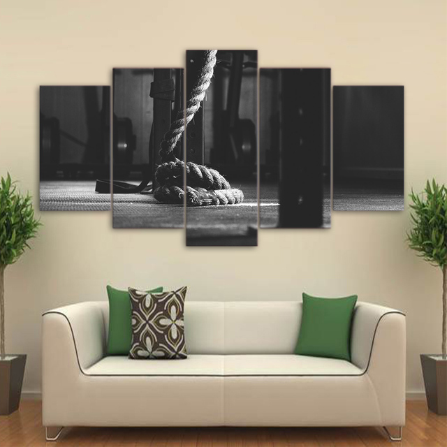 5 pieces hd printed posters crossfit gym paintings gym room decor