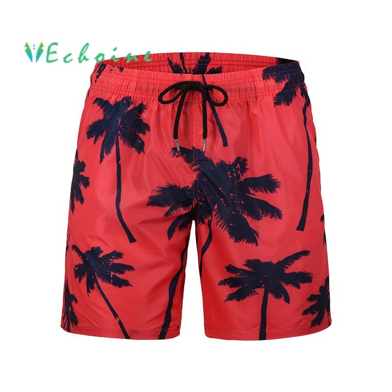 Sanft Echoine Plus Größe Marke Mens Strand Shorts Kokospalme Druck Casual Hosen Für Männer Hohe Taille Kordelzug Shorts Surf Shorts Modernes Design
