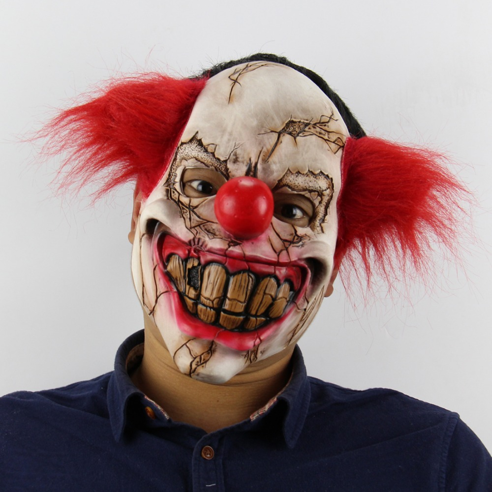 Jocker mascot horror scary Clown latex mask Red short Hair Clown Evil Killer Clown Mask for Adult Men/woman Halloween party