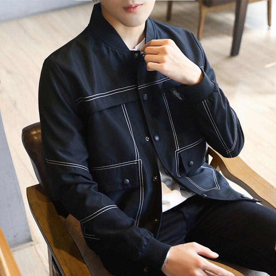 Equipada Coreano Outwear blue Hombres Casual Black Streetwear Otoño Masculino Jaqueta Chaqueta 40jk005 Corto Primavera Estilo q4wFfZg