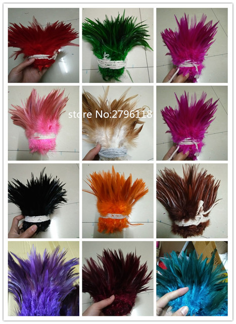 50 Pcs Natural Colourful Rooster Feathers Fly Tying Bulk Feathers