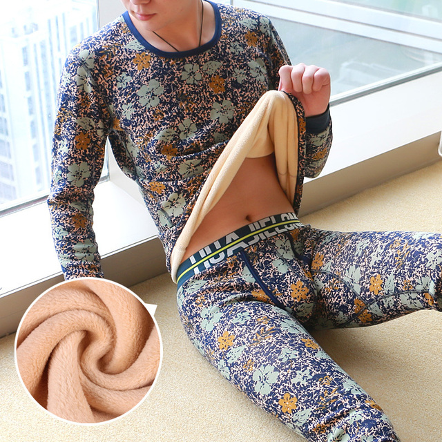 A suit of Print o-neck fashion thermal autumn underwear cotton breathable slim thermal set men's Long Johns HJ517/617