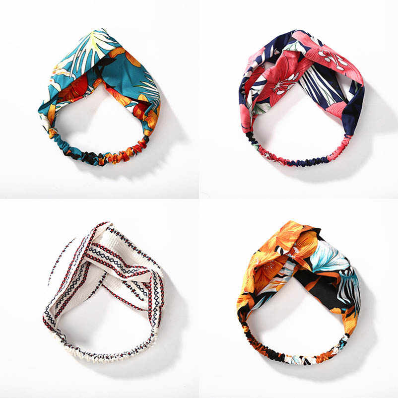 White Orange Pink Blue Cross Cloth Turban Flower Leaf Headband Headwear Hairbands Hair Accessories for Women