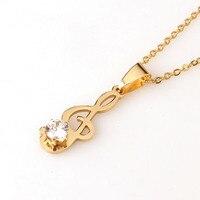 Collar de Moda de Oro de Música Con CZ del Acero Inoxidable de Oro Nota Musical Colgante Para Las Mujeres Joyería Del Partido